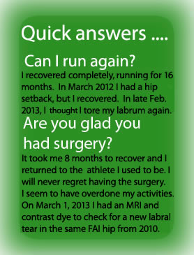... able to run like I could before FAI came into my life after 33 weeks